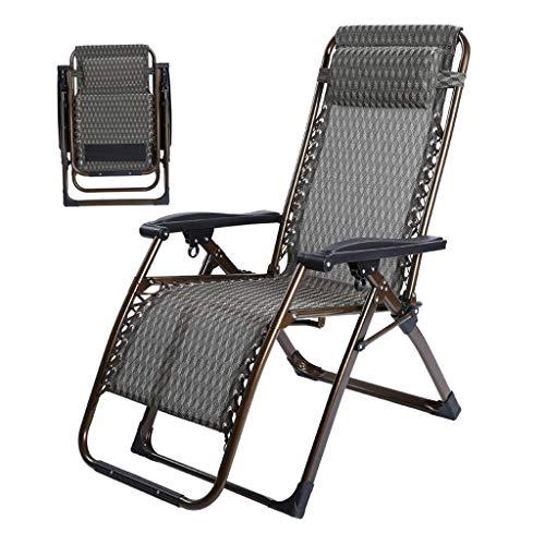 Klappliegestühle Sonnenliegen Recliners Zero Gravity Terrasse Liegestuhl Reclining Gartenstuhl Außen Folding Tragbare Schaukelstuhl Unterstützt 200kg Schwarz (Color : B)