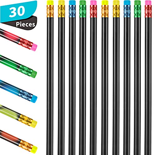 30 Pieces Color Changing Mood Pencil 2B Changing Pencil Assorted Color Thermochromic Pencils with Eraser for Students Gift (Black Base)