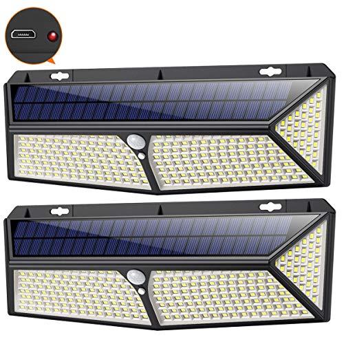 Solarlampen für Außen 288LED mit USB-Aufladung,iPosible Solar Bewegungsmelder Aussen【2 Stück】Solarleuchten für Außen 2500Lumen Solar Aussenleuchte mit Bewegungsmelder IP65 Wasserdichte für Garten