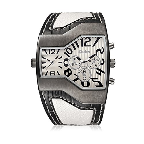 iWatch Herren Armbanduhr Japanisches Quarz Analog Dual-Bewegung Doppel Zeitzonen Sport Uhr mit Weiß Zifferblatt und Schlangenhaut Leder Armband