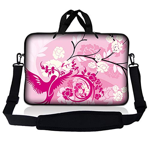 """LSS 17 inch Laptop Sleeve Bag Carrying Case Pouch w/Handle & Adjustable Shoulder Strap for 17.4"""" 17.3"""" 17"""" 16"""" Apple Macbook, GW, Acer, Asus, Dell, Hp, Sony, Toshiba, Pink White Roses Bird Floral"""