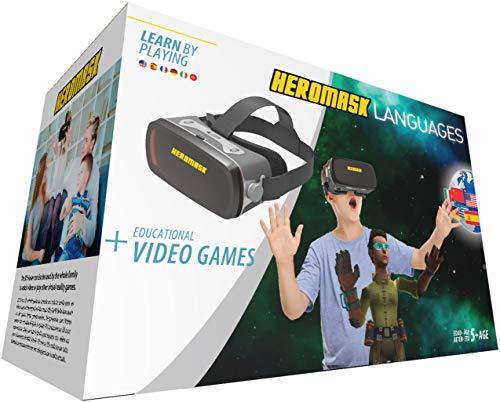 Gafas Realidad Virtual Niños + Juego Educativo Idiomas [Regalo Original]. Aprende inglés, francés... Juguete 5, 6, 7, 8... años - Gafas 3D con botón - videos virtuales - Cumpleaños - Navidad - VR