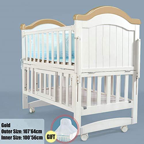 HEEGNPD Kinderbett aus weißem Kiefernholz Länge 110 cm, kann in EIN Juniorbett verwandelt Werden, Babybett kann Schaukelbett Sein, Bett kann auf 160 cm verlängert Werden,B