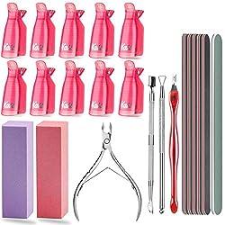❀Complete Nail Polish Remover Kit - This set included 10pcs nail polish remover clips, 1pcs cuticle nippers, 1pcs cuticle peeler, 1pcs dual ended cuticle pusher, 1pcs V Shaped cuticle trimmer knife, 1pcs buffing strip 600/4000, 1pcs buffing block 4 s...