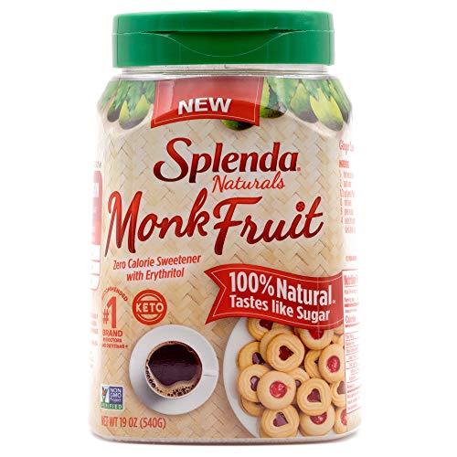 SPLENDA Naturals Monk Fruit Zero Calorie All Natural Granulated Sweetener Jar, 19 oz