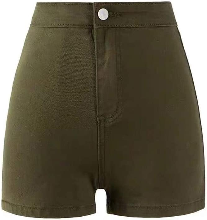 CDDKJDS Summer High Waist Sexy Denim Shorts Women S Tight Height Elastic Thin Hot Pants Fashion Versatile A-line Pants One Button (Color : Army Green, Size : M)