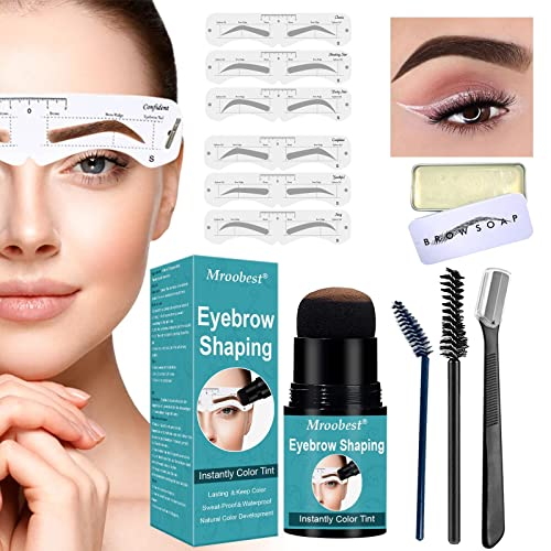 EyeBrow Stamp Kit, Eyebrow Powder, Eyebrow Stamp Stencil Kit, One Step Eyebrow Shaping Kit,12 Juegos de Plantillas de Cejas Reutilizables, 1 gel para cejas