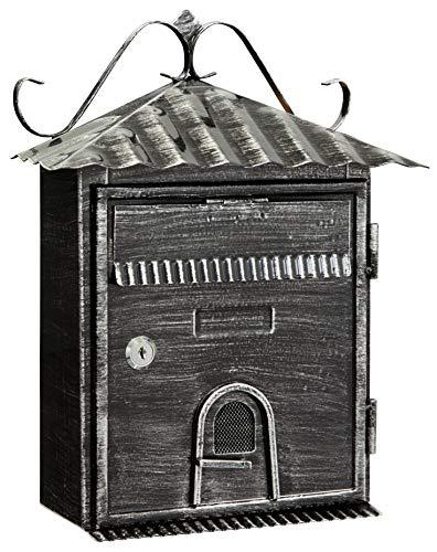 Arregui Rustica D-2204 Individueller Briefkasten aus Metall im rustikalen Stil, Größe S (DIN A5), Schwarz gebürstet, 35 x 28 x 11,5 cm