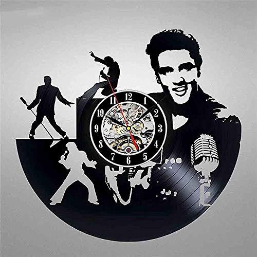 tjiaxu Reloj de Pared con Disco de Vinilo Elvis, diseño Moderno, Decorativo en 3D, Relojes Colgantes del Rey de la Roca, Reloj de Pared, decoración del hogar, silencioso