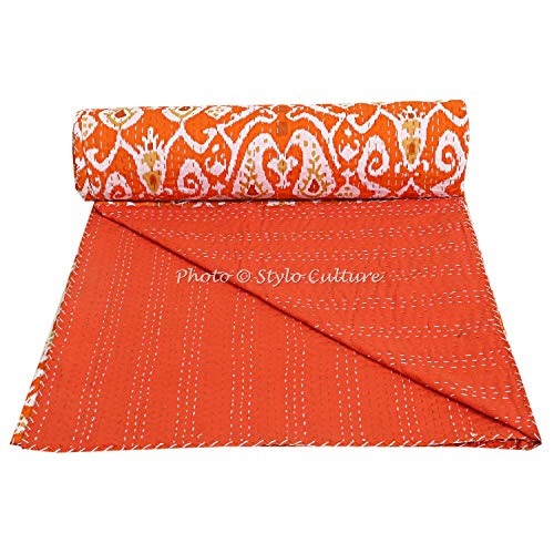 Stylo Culture Cotton Kantha Throw Queen Bedspread Bed Cover Blanket Orange Ethnic Indian Hand Stitched Ikat Print Quilt Coverlet (90x108)