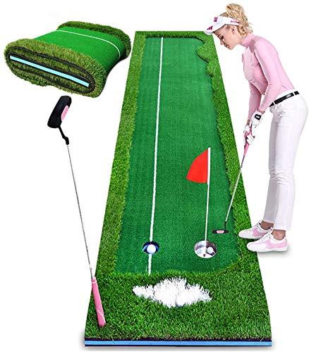 MOCHENG Golf Putter Entrenador de entrenamiento en interiores equipo de entrenamiento de golf, soporte para pelotas de golf, herramienta de entrenamiento para oficina, alfombra verde Fairway Practice Mat 9.9ft x 2.5ft