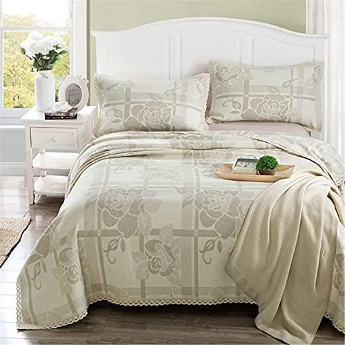 Lino colcha acolchada doble tamaño king tamaño transpirable cómodo con estampado de cama cubierta de cama multifunción aire acondicionado manta cubierta 3 piezas,Gris,180 * 220cm