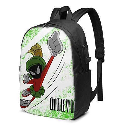 IUBBKI Bolsa para computadora mochila USB Men Women Packable Backpack with USB Charging Port, Durable rain cover Work Bag, Book Bags Daypack for Outdoor Hiking School, Cute Anime Marvin-Martian