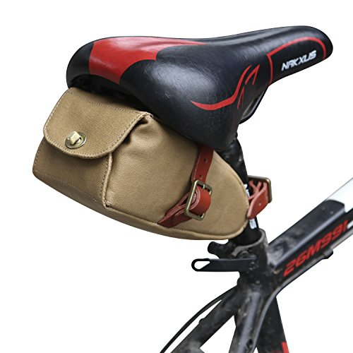 TOURBON Canvas and Leather Strap-On Bike Saddle Bag Bicycle Seat Pack Bag (Khaki)