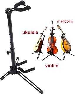 Rayzm Stand para Violín con Soporte para Arco, Trípode Graduable y Plegable de Metal para Violín / Ukelele / Mandolina, Fácil de Montar.