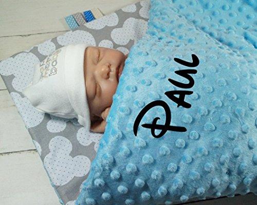 ★ Babydecke mit Namen und Datum bestickt ★ Geschenk ★Geburt ★ Taufe ★ (75 x 100 cm, Mäuse - Hellblau) ( 900111 )