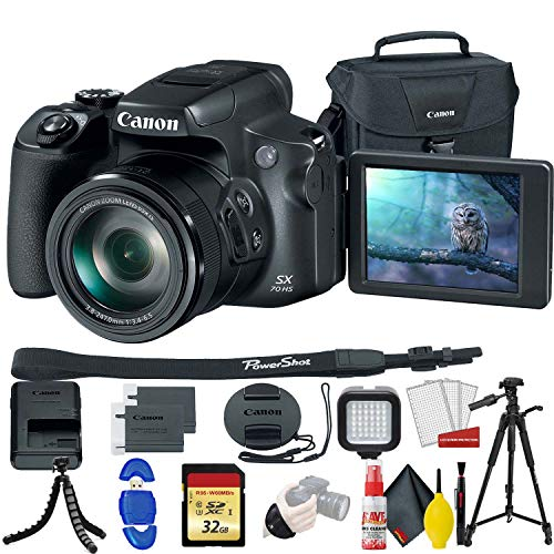 Canon PowerShot SX70 HS Digital Camera (3071C001) with 32GB Memory Card, Padded Case, Spider Tripod, LED Light, Extra Battery, Full Size Tripod,m Cleaning Kit, and More