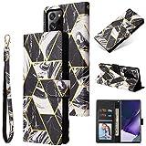 Shinyzone Custodia per Samsung Galaxy Note 20 Libro con Porta Carte,Cover Pelle Samsung Galaxy Note 20 Portafoglio Flip Stand TPU Antiurto Protettiva Caso,Marmo Doratura Nera