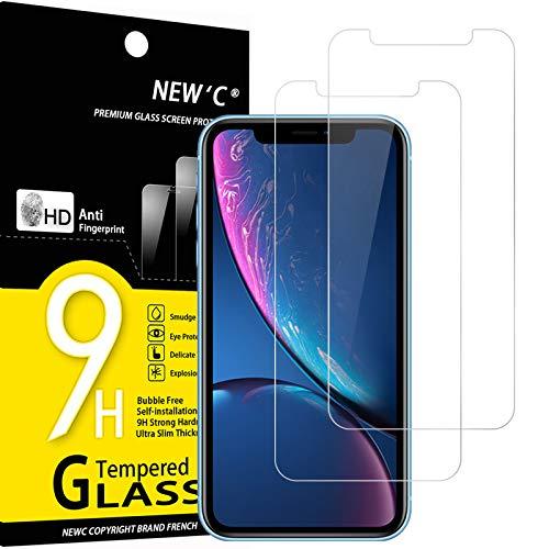 NEW'C 2 Unidades, Protector de Pantalla para iPhone 11 y iPhone XR (6.1'), Antiarañazos, Antihuellas, Sin Burbujas, 9H, 0.33...