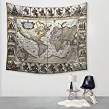 N / A Estilo Retro decoración del hogar Tapiz Mapa del Mundo algodón Mezclado Colgante de Pared Colgante de Pared Tapiz Hippie Bohemio Colcha de Playa Tapiz Art Deco Tapiz A2 150x200cm