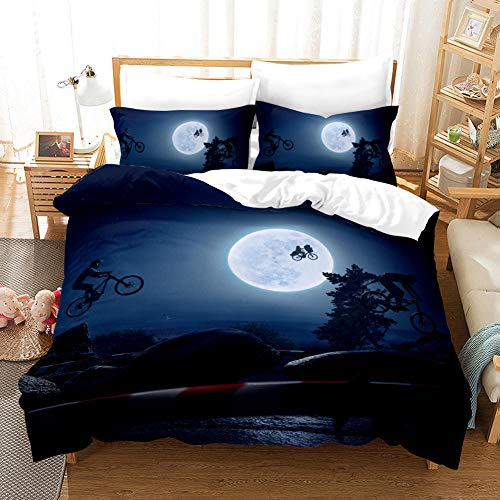 Qingxsm Duvet Cover Double Bed 200 x 200 cm Microfiber Bedding set with 2 Pillowcases 50 x 75 cm Stunt bike Hypoallergenic Ultra Soft Quilt Cover Set with Zipper Seal