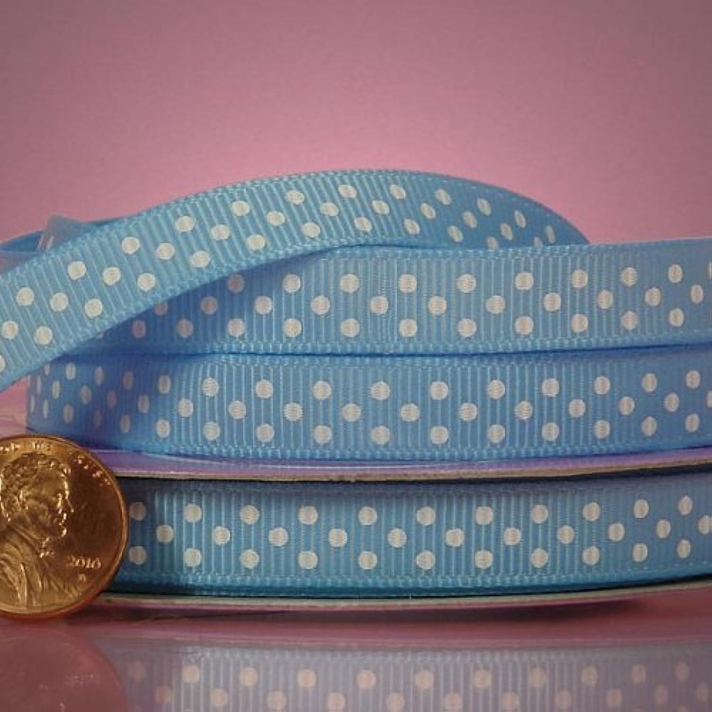 Light bluee And White Polka Dots Grosgrain Ribbon, 1cm X 25Yd