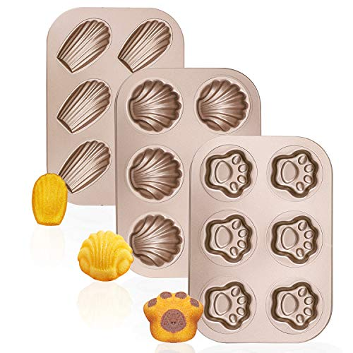 Madeleine Pans, Beasea 3 Pack Nonstick Cat Claws Shape Baking Pans, Carbon Steel Baking Mold, 6 Cavity Baking Tray Bagels Mold