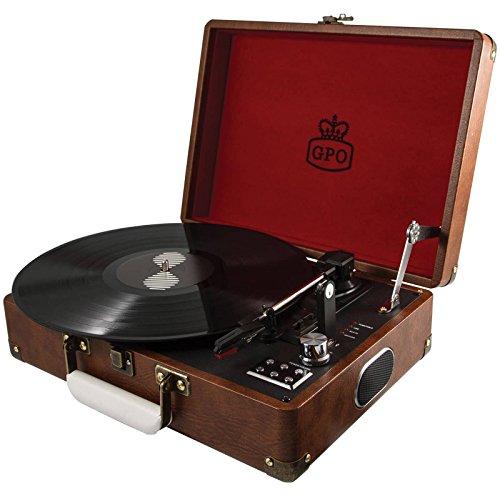 GPO Attache Portfölj Stil Skivspelare Vinyl Skivspelare med Inbyggda högtalare - Vintage Brun