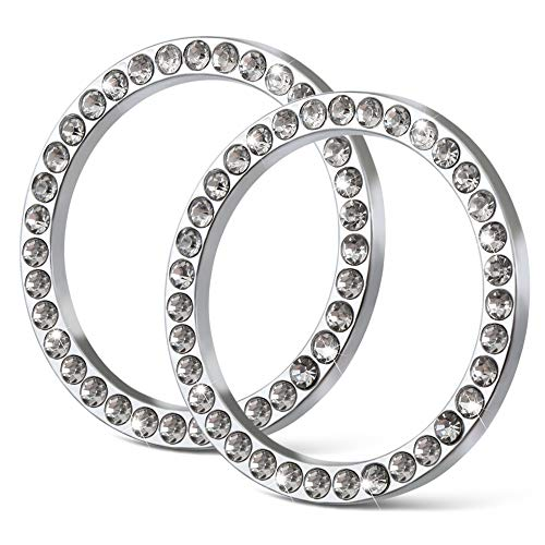 POZEL 2Pcs Crystal Rhinestone Ring for Car Decor, Auto Engine Start Stop Decoration Crystal Interior Ring Decal for Vehicle Ignition Button-Silvery