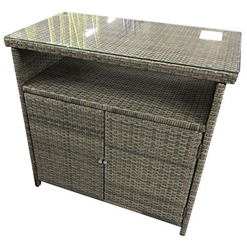 Polyrattan Sideboard 90x50x84cm Toledo Gartenschrank Gartenregal mit Glasplatte