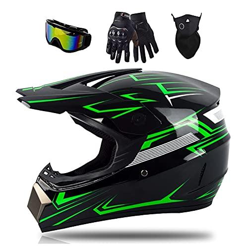 Casco Moto Puede Bluetooth Slot Offroad Casco Motocross Casco Dirt Bike ATV Motocicleta Sólida ABS Enviar Gafas de Alta Definición Forro Protector ECE pour Unisex Adultos(52-60cm)