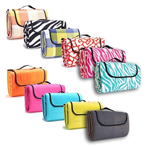 7dreams® Picknick-Decke 130x150cm Fleece Campingdecke Stranddecke Reisedecke Strand Matte Wasserabweisend - Verschiedene Designs (Zebra Pink-Muster)