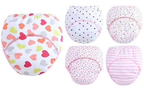 Hanibeiwa - Ropa Interior de Bebé de Algodón de Aprendizaje Pantalones Cortos de Pañal con Estampado de Forma de Corazón Roja Infantal Impermeable - 12-24 Meses