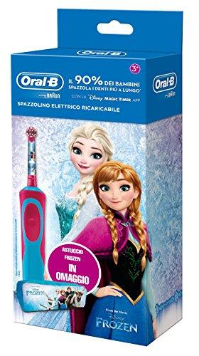 Oral-B Vitality 81633850 Kinderzahnbürste, rotierend-oszillierend, Blau, Rosa elektrische Zahnbürste, Akku