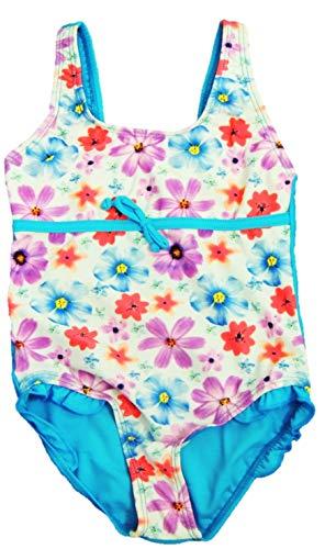 VanessaShop Meisjes badpak met grote bloemenprint en klein volant in de maten 104-158