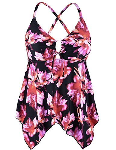 Firpearl Women's Black Flowy Swimsuit Crossback Plus Size Tankini Top US14 Pink Floral