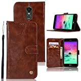 LG Stylo 3 Case, LG Stylo 3 Plus Case, Zoeirc Hybrid PU Leather Drop Protection Folding Folio Style Wallet Slots to Hold Cards Stand Pouch Flip Case for LG Stylo 3/LG Stylo 3 Plus (Brown)