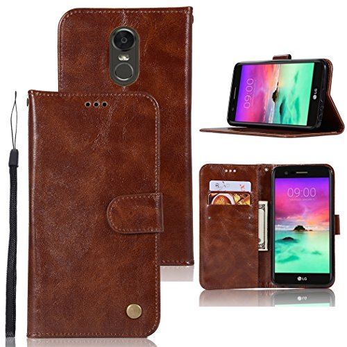 for LG Stylo 3 Case, for LG Stylo 3 Plus Case, Zoeirc Hybrid PU Leather Drop Protection Folding Folio Style Wallet Slots to Hold Cards Stand Pouch Flip Case for LG Stylo 3/for LG Stylo 3 Plus (Brown)