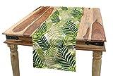 ABAKUHAUS Hoja Camino de Mesa, Tropical exótica de Las Palmeras, Decorativo para el Comedor o Sala de Estar Fácil de Limpiar, 40 x 180 cm, Verde Crudo