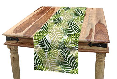 ABAKUHAUS Primavera Camino de Mesa, Palmeras Exóticas Tropicales, Decorativo Estampado Digital Apto Lavadora No Destiñe, 40 x 180 cm, Crudo Verde