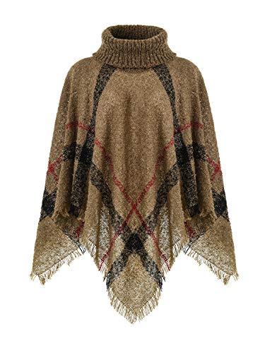 Ferand Warmer Weicher Karierter Damen Poncho-Pullover mit Kapuze oder Rollkragen, Rollkragen Version: Khaki, Einheitsgröße (Beste Passform S-L)