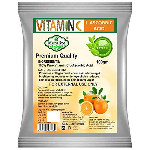 Meralite 100% Pure Vitamin C Powder (L-Ascorbic Acid) For Face Skin Whitening For Men & Women (100 gm)
