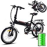 Bunao Vélo électrique Pliant pour vélo de Montagne électrique de Vitesses Shimano à 7 Vitesses, 250W, 8AH, avec Batterie Lithium-ION Amovible de 36 V, 20', vélo de Ville léger (Noir - 20')