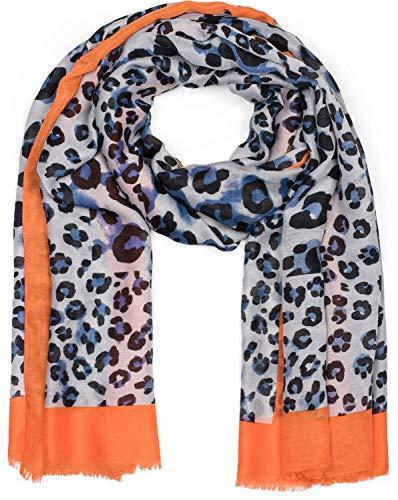 styleBREAKER Damen Schal mit großem und kleinem Leoparden Muster Print, farbigem Streifen und Fransen, Tuch 01016176, Farbe:Blau-Orange