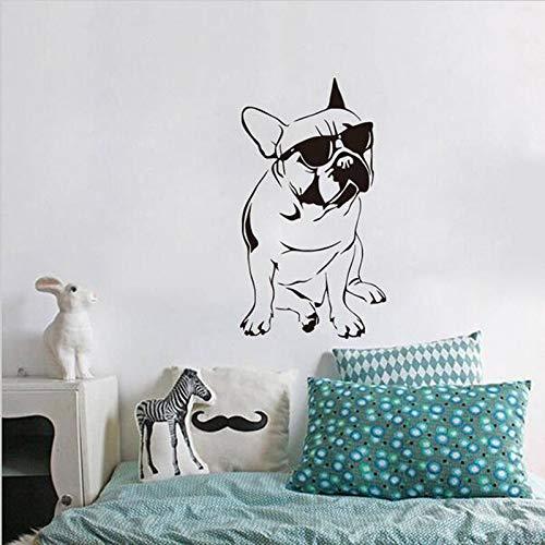 yaonuli Bulldogge Aufkleber Kinderzimmer Vinyl Wandaufkleber Hund mit Sonnenbrille Schlafzimmer Tapete Wohnkultur39X70cm