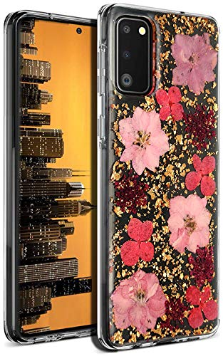 Aokebr Real Flowers Case for Samsung Galaxy S20 Pressed Dry Petals Glitter Bling Glitter Sparkle Thin TPU Soft Clear Flexible Rubber for Girl Women SamsungS20 GalaxyS20 (Pink)