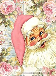 Chrismas Santa Claus Flower Full Drill Diamond Painting by Number Kits, 5D DIY Diamond Embroidery Rhinestone Cross Stitch Mosaic Paintings Arts Craft for Home Wall Decor(12X16inch/30X40CM)