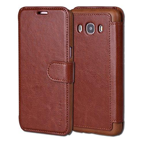 Mulbess Funda Samsung Galaxy J5 2016 [Libro Caso Cubierta] [En Capas de Billetera Cuero] con Tapa Magnética Carcasa para Samsung Galaxy J5 2016 / J5 Duos 2016 Case, Marrón