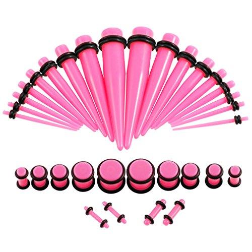 JDXN Acrylic Ear Stretching Taper Kit with Plugs Tunnel Starter Kit - 36 Piece Set 14G - 00G Women Men (Acrylic Pink 00G-14G 36 PCS/Set)