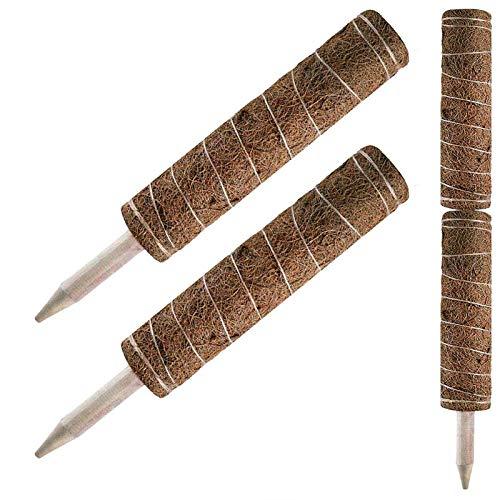 GRANDLIN 2 x Kokosfaser-Totem-Stange, Kokosmoos-Totem-Stange, Moos-Stab für Pflanzenunterstützung, Erweiterung für Kletterpflanzen, Zimmerpflanzen.